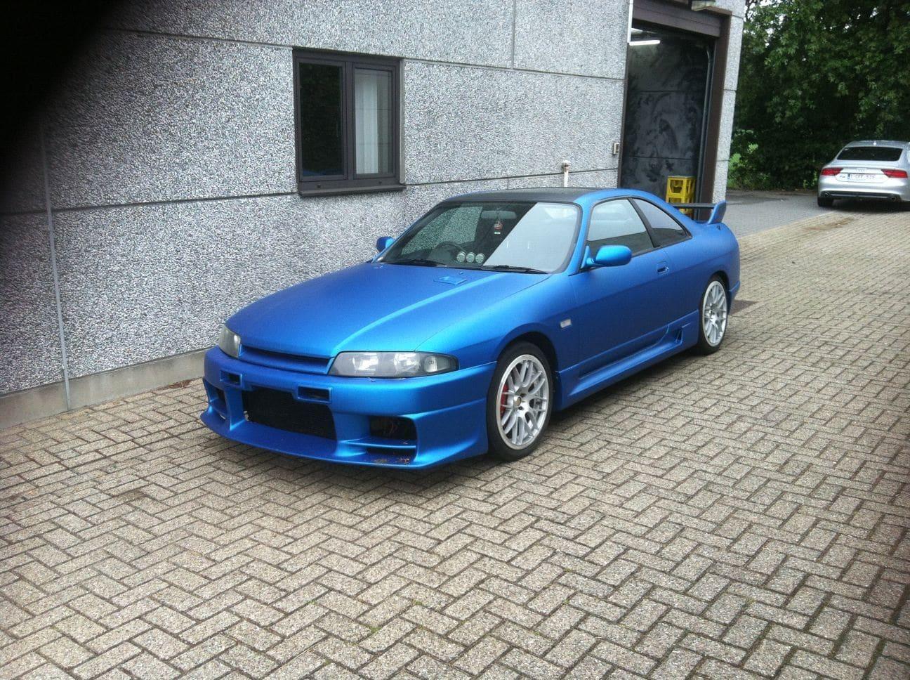 Nissan Skyline met Mat Blauwe Wrap, Carwrapping door Wrapmyride.nu Foto-nr:6605, ©2021
