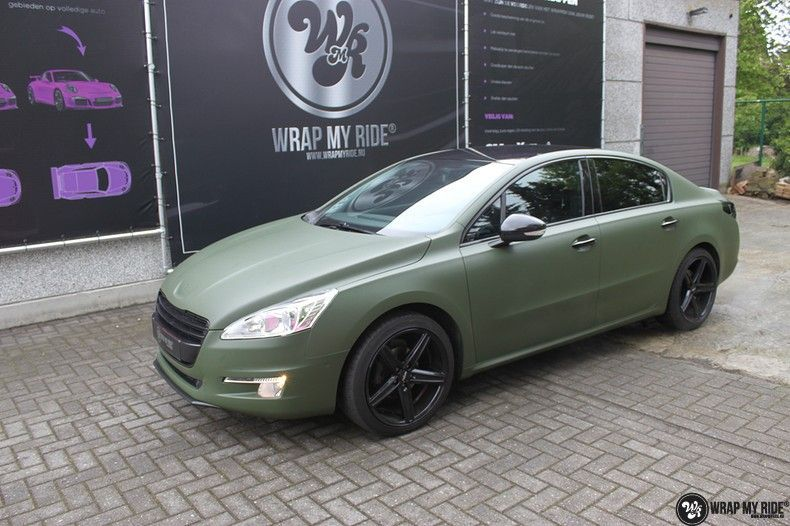 Peugeot 508 3m matte military green, Carwrapping door Wrapmyride.nu Foto-nr:11386, ©2021
