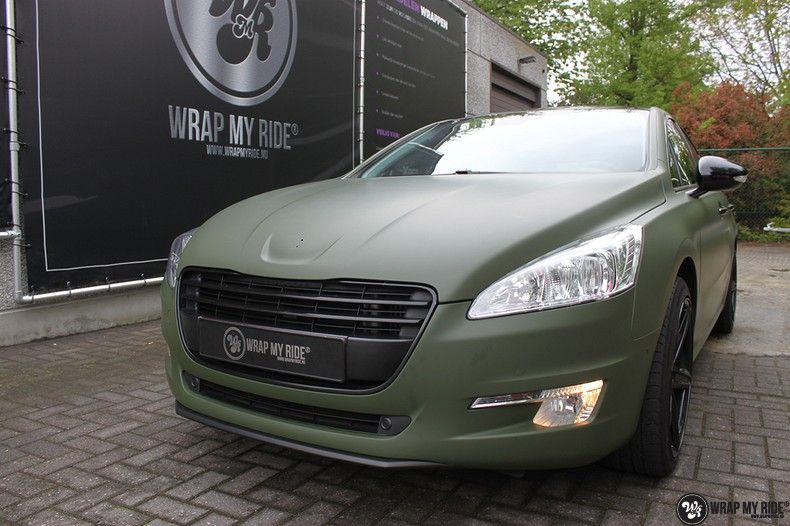 Peugeot 508 3m matte military green, Carwrapping door Wrapmyride.nu Foto-nr:11385, ©2021