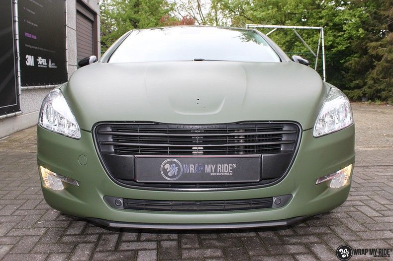 Peugeot 508 3m matte military green, Carwrapping door Wrapmyride.nu Foto-nr:11384, ©2021