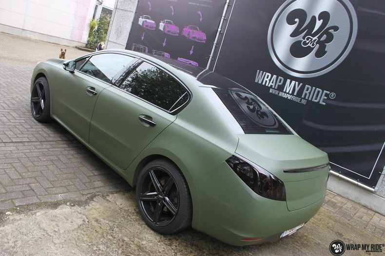 Peugeot 508 3m matte military green, Carwrapping door Wrapmyride.nu Foto-nr:11381, ©2021
