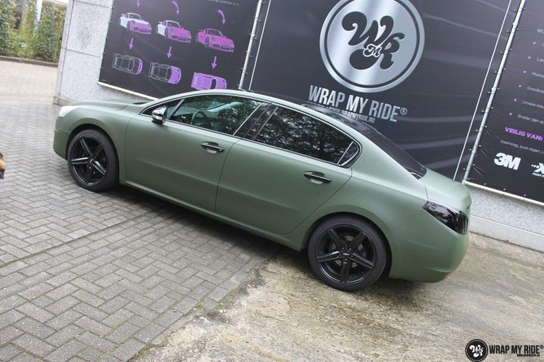 Peugeot 508 3m matte military green, Carwrapping door Wrapmyride.nu Foto-nr:11380, ©2021