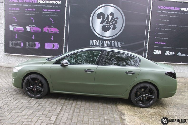Peugeot 508 3m matte military green, Carwrapping door Wrapmyride.nu Foto-nr:11379, ©2021