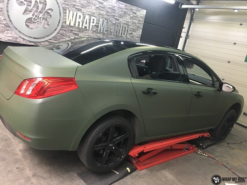 Peugeot 508 3m matte military green, Carwrapping door Wrapmyride.nu Foto-nr:11365, ©2021