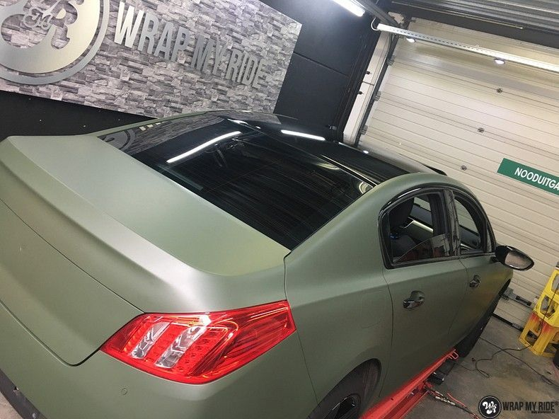 Peugeot 508 3m matte military green, Carwrapping door Wrapmyride.nu Foto-nr:11367, ©2021