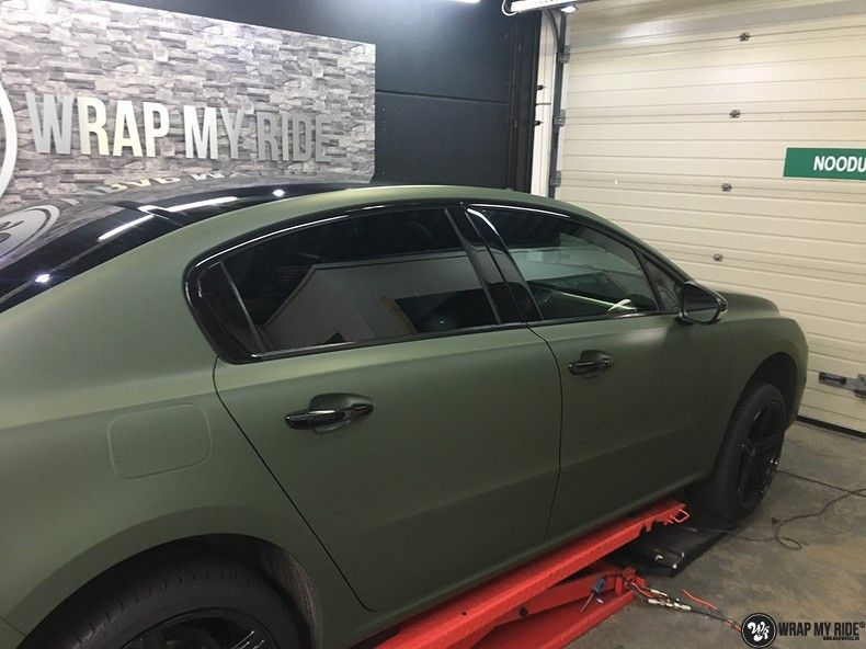 Peugeot 508 3m matte military green, Carwrapping door Wrapmyride.nu Foto-nr:11360, ©2021