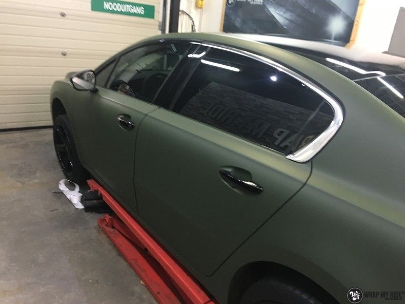 Peugeot 508 3m matte military green, Carwrapping door Wrapmyride.nu Foto-nr:11397, ©2021