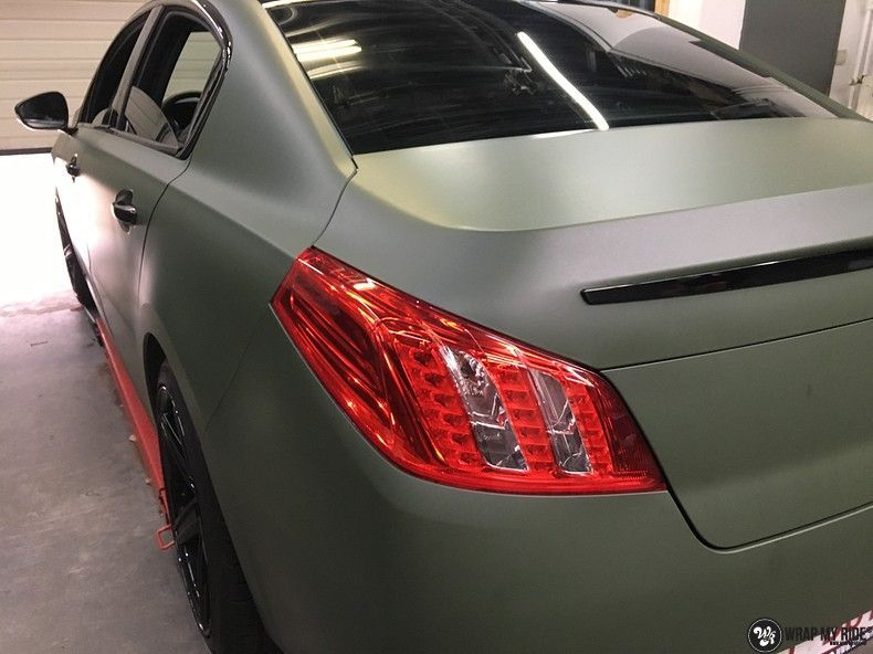 Peugeot 508 3m matte military green, Carwrapping door Wrapmyride.nu Foto-nr:11368, ©2021