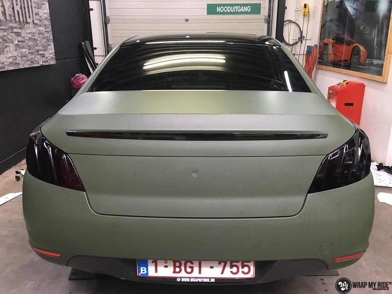 Peugeot 508 3m matte military green, Carwrapping door Wrapmyride.nu Foto-nr:11369, ©2021