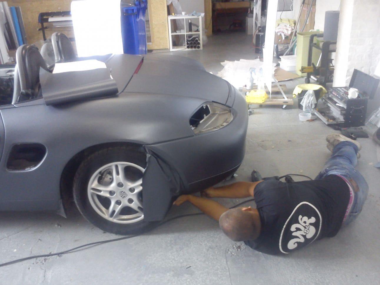 Porsche Boxter met Gunpowder Wrap, Carwrapping door Wrapmyride.nu Foto-nr:6720, ©2021