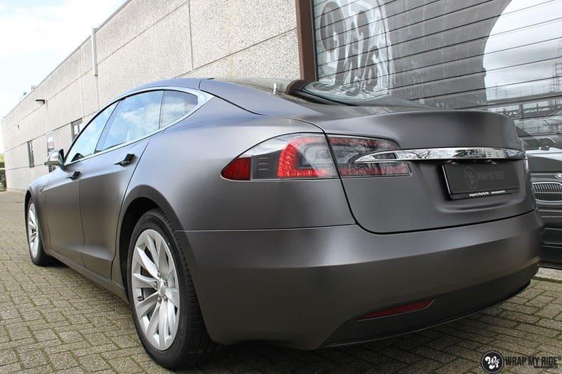 Tesla Model S Satin Dark Grey, Carwrapping door Wrapmyride.nu Foto-nr:9590, ©2021