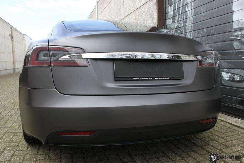 Tesla Model S Satin Dark Grey, Carwrapping door Wrapmyride.nu Foto-nr:9589, ©2021