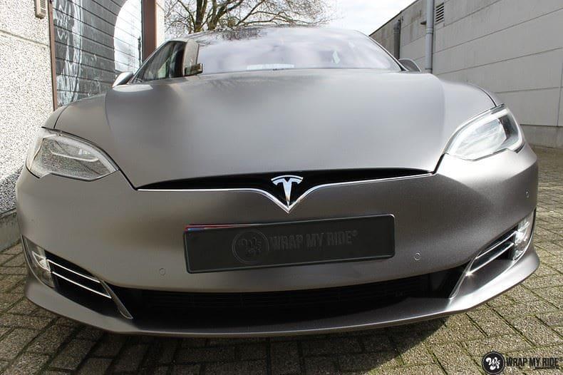 Tesla Model S Satin Dark Grey, Carwrapping door Wrapmyride.nu Foto-nr:9578, ©2021