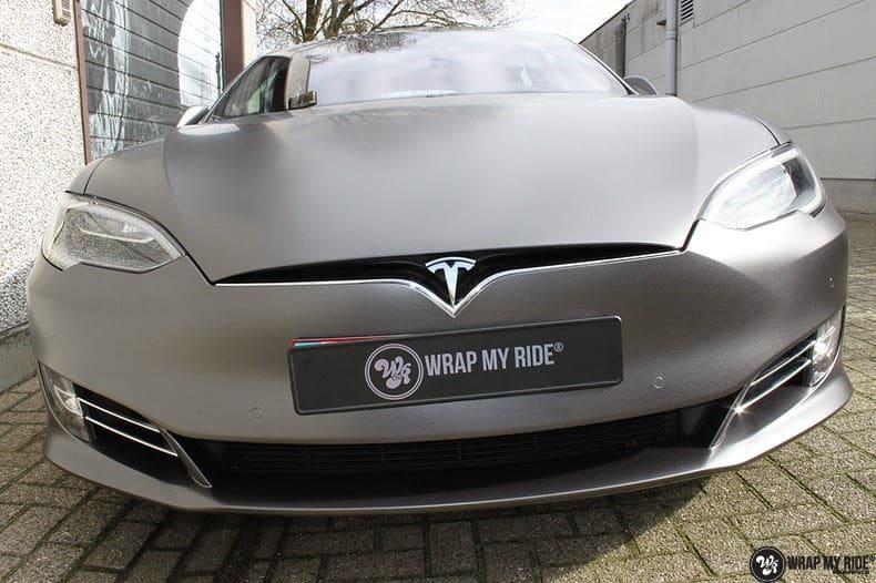 Tesla Model S Satin Dark Grey, Carwrapping door Wrapmyride.nu Foto-nr:9577, ©2021