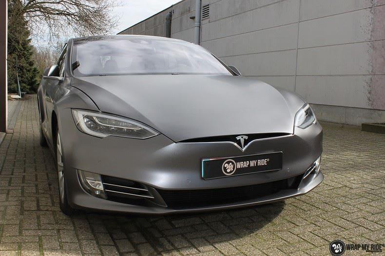 Tesla Model S Satin Dark Grey, Carwrapping door Wrapmyride.nu Foto-nr:9575, ©2021