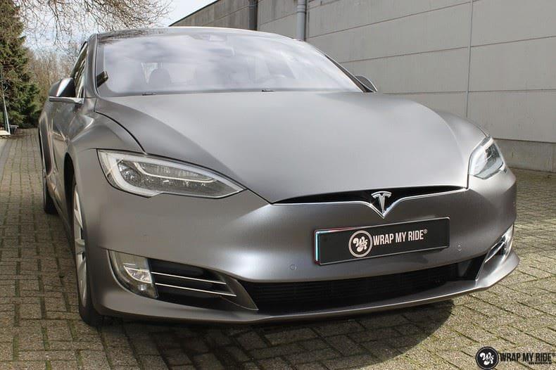 Tesla Model S Satin Dark Grey, Carwrapping door Wrapmyride.nu Foto-nr:9574, ©2021